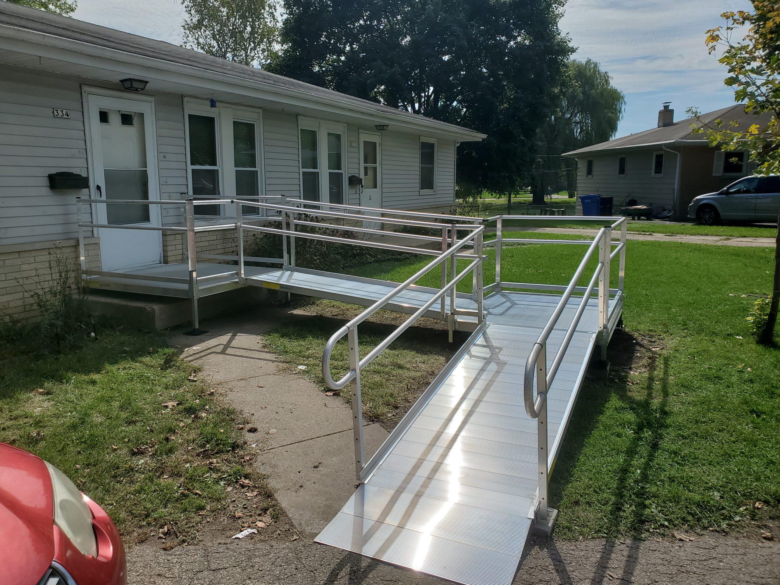 Wheelchair ramp on Oshkosh home